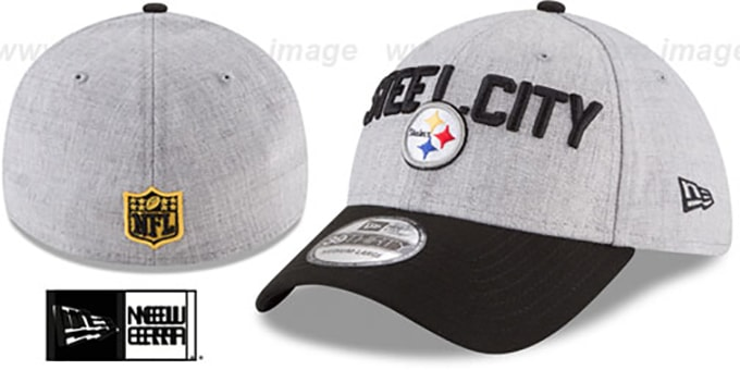 38219e63896 Steelers  2018 ONSTAGE FLEX  Grey-Black Hat by New Era