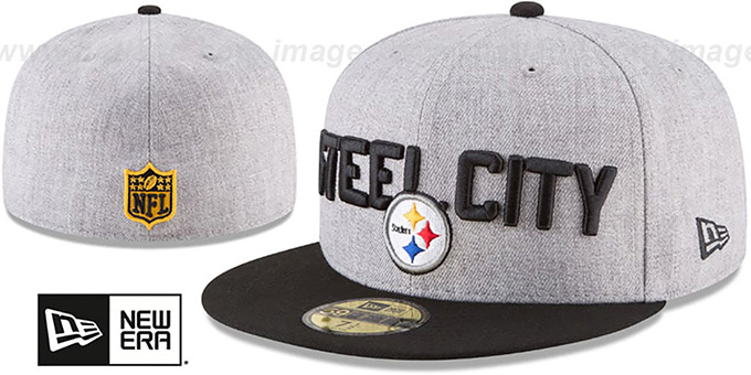 Steelers '2018 ONSTAGE' Grey-Black Fitted Hat by New Era : pictured without stickers that these products are shipped with