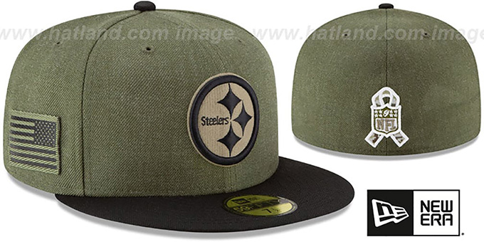 Pittsburgh Steelers 2018 SALUTE-TO-SERVICE Olive-Black Fitted Hat 2a24a234f1d