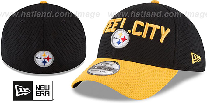 Steelers '2018 SPOTLIGHT FLEX' Black-Gold Hat by New Era : pictured without stickers that these products are shipped with