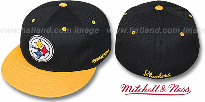 Steelers '2T BP-MESH' Black-Gold Fitted Hat by Mitchell & Ness : pictured without stickers that these products are shipped with