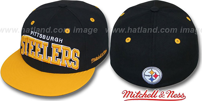Steelers '2T CLASSIC-ARCH' Black-Gold Fitted Hat by Mitchell & Ness