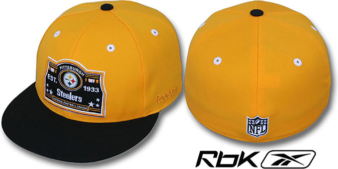 Steelers '2T ESTABLISHED' Gold-Black Fitted Hat by Reebok : pictured without stickers that these products are shipped with