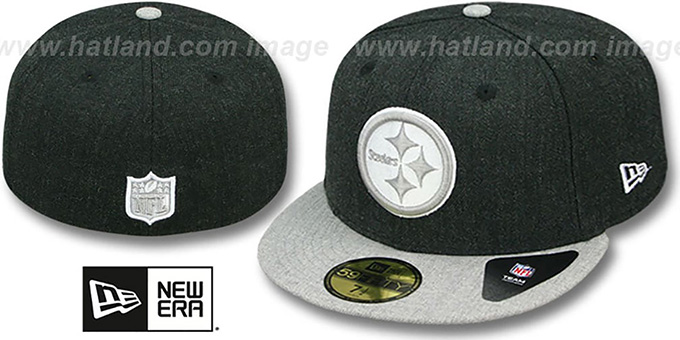 Steelers '2T-HEATHER ACTION' Charcoal-Grey Fitted Hat by New Era : pictured without stickers that these products are shipped with
