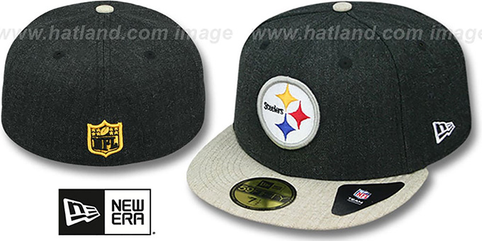 Steelers '2T-HEATHER ACTION' Charcoal-Oatmeal Fitted Hat by New Era : pictured without stickers that these products are shipped with