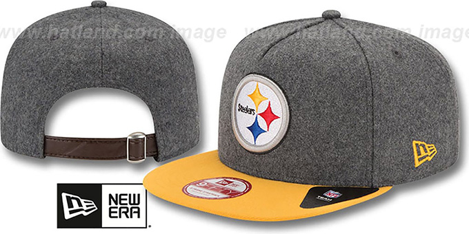 Steelers '2T MELTON A-FRAME STRAPBACK' Hat by New Era : pictured without stickers that these products are shipped with