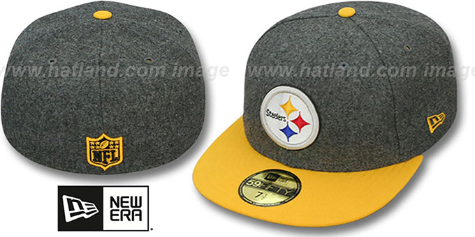Steelers '2T NFL MELTON-BASIC' Grey-Gold Fitted Hat by New Era : pictured without stickers that these products are shipped with