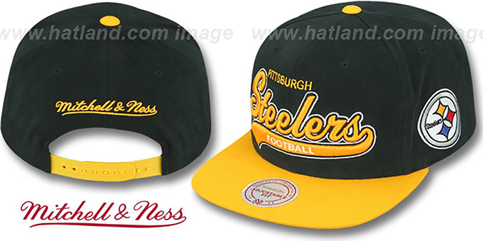 Steelers '2T TAILSWEEPER SNAPBACK' Black-Gold Hat by Mitchell & Ness : pictured without stickers that these products are shipped with