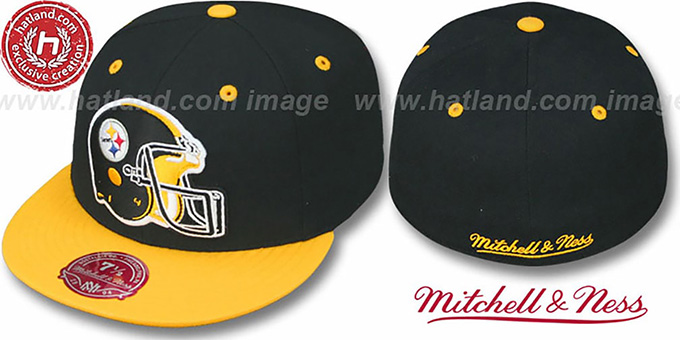 Steelers '2T XL-HELMET' Black-Gold Fitted Hat by Mitchell & Ness : pictured without stickers that these products are shipped with
