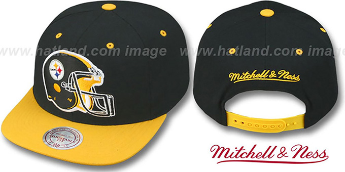 Steelers '2T XL-HELMET SNAPBACK' Black-Gold Adjustable Hat by Mitchell & Ness : pictured without stickers that these products are shipped with