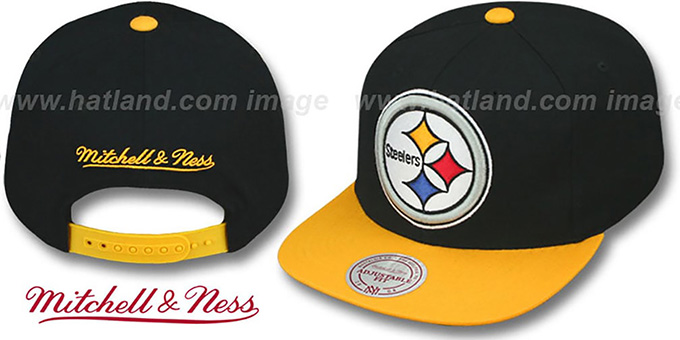 Steelers '2T XL-LOGO SNAPBACK 2' Black-Gold Adjustable Hat by Mitchell & Ness : pictured without stickers that these products are shipped with