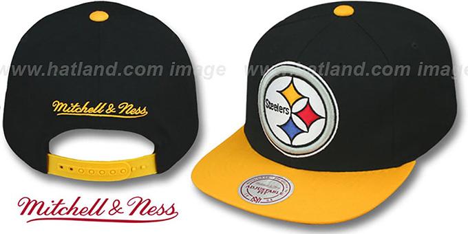 9c3ef0f9544 Steelers  2T XL-LOGO SNAPBACK 2  Black-Gold Adjustable Hat by Mitchell