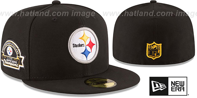 Steelers 6X 'TITLES SIDE-PATCH' Black Fitted Hat by New Era : pictured without stickers that these products are shipped with