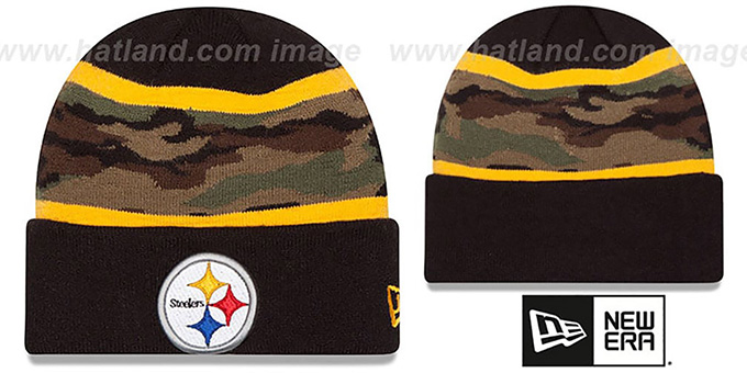 Steelers 'ARMY CAMO FILLZ' Knit Beanie Hat by New Era : pictured without stickers that these products are shipped with
