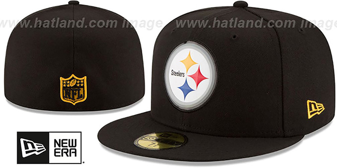 Steelers 'BEVEL' Black Fitted Hat by New Era : pictured without stickers that these products are shipped with