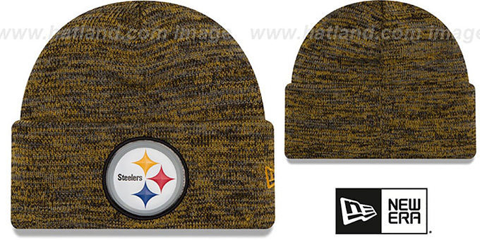 Steelers 'BEVEL' Black-Gold Knit Beanie Hat by New Era : pictured without stickers that these products are shipped with