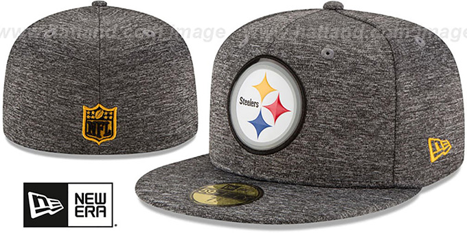 Steelers 'BEVEL' Heather Grey Fitted Hat by New Era : pictured without stickers that these products are shipped with
