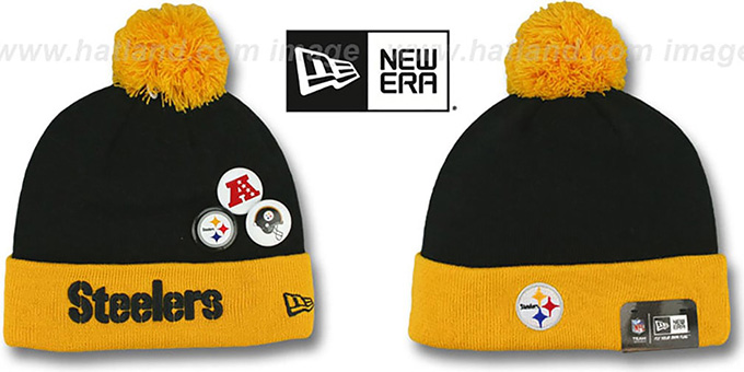 Steelers 'BUTTON-UP' Knit Beanie Hat by New Era : pictured without stickers that these products are shipped with