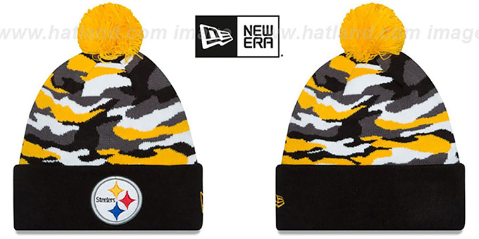 Steelers 'CAMO CAPTIVATE' Knit Beanie Hat by New Era : pictured without stickers that these products are shipped with