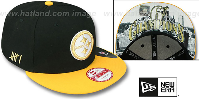 Steelers 'CHAMPS-HASH SNAPBACK' Black-Gold Hat by New Era : pictured without stickers that these products are shipped with