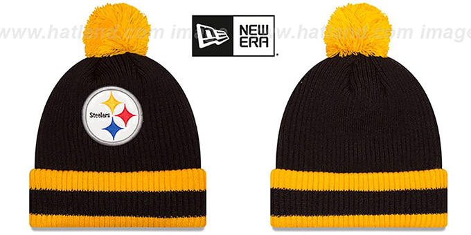 Steelers 'CHILLER FILLER BEANIE' Black-Gold by New Era : pictured without stickers that these products are shipped with