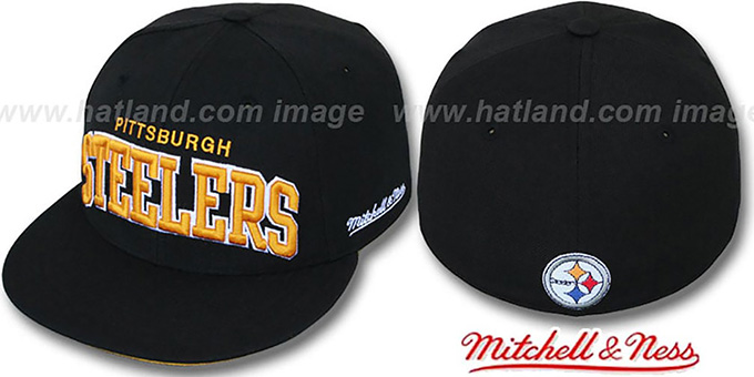Steelers 'CLASSIC-ARCH' Black Fitted Hat by Mitchell & Ness : pictured without stickers that these products are shipped with