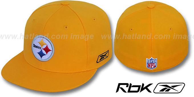 Steelers 'COACHES' Gold Fitted Hat by Reebok : pictured without stickers that these products are shipped with