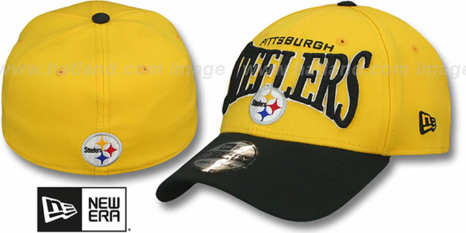 Steelers 'COIN TOSS FLEX' Gold-Black Hat by New Era : pictured without stickers that these products are shipped with