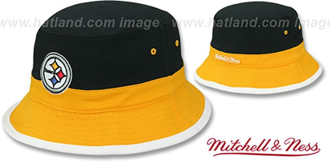 Steelers 'COLOR-BLOCK BUCKET' Black-Gold-White Hat by Mitchell and Ness : pictured without stickers that these products are shipped with