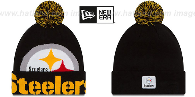 Steelers 'COLOSSAL-TEAM' Black Knit Beanie Hat by New Era : pictured without stickers that these products are shipped with