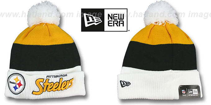 Steelers 'CUFF-SCRIPTER' White-Black-Gold Knit Beanie Hat by New Era : pictured without stickers that these products are shipped with