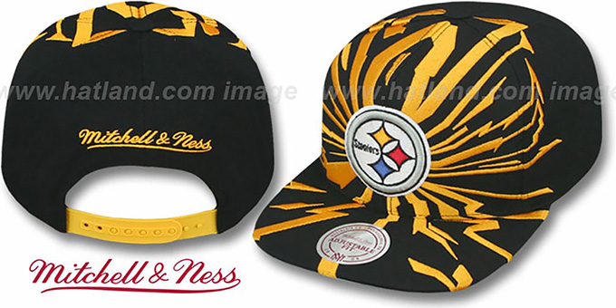 Steelers 'EARTHQUAKE SNAPBACK' Black Hat by Mitchell & Ness : pictured without stickers that these products are shipped with