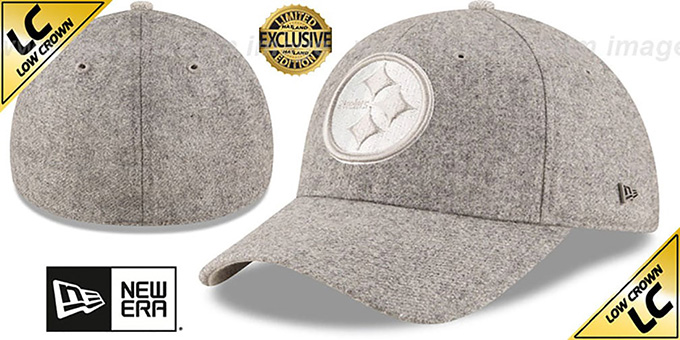 Steelers 'EK MELTON FABRIC MIX' Grey Hat by New Era : pictured without stickers that these products are shipped with