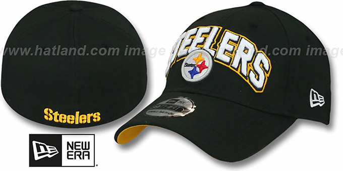 Steelers 'FG DRAFT FLEX' Black Hat by New Era : pictured without stickers that these products are shipped with