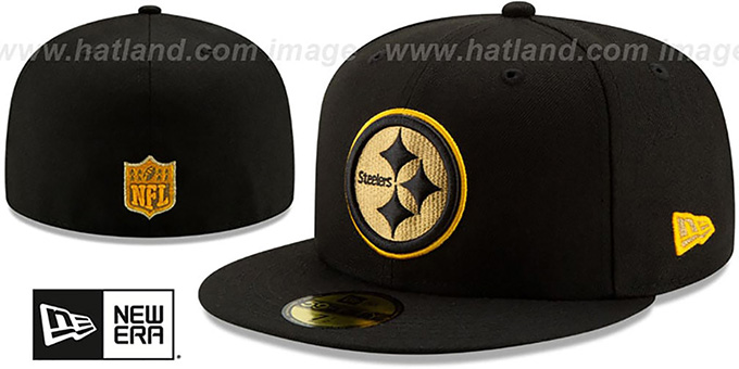 super popular 44aa5 41386 Steelers  GOLD METALLIC STOPPER  Black Fitted Hat by New Era