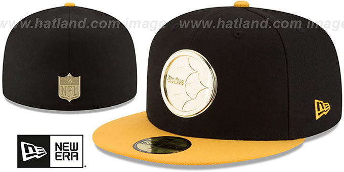 Pittsburgh Steelers GOLDEN-BADGE Black-Gold Fitted Hat 1211c55aa06