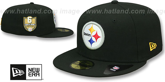 Steelers 'GOLDEN-HIT' Black Fitted Hat by New Era : pictured without stickers that these products are shipped with