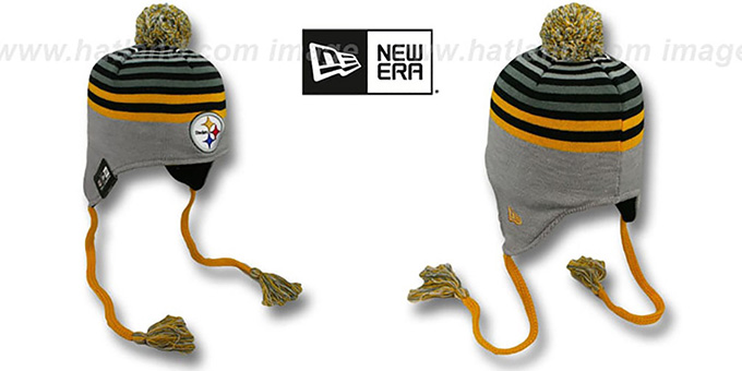 Steelers 'GREY STRIPETOP' Knit Beanie Hat by New Era : pictured without stickers that these products are shipped with