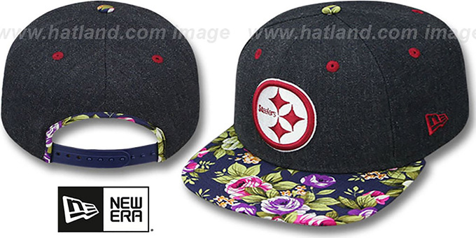 Steelers 'HEATHER BLOOM SNAPBACK' Navy Hat by New Era : pictured without stickers that these products are shipped with