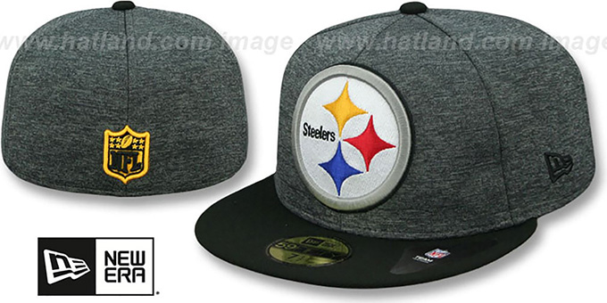 Steelers 'HEATHER-HUGE' Grey-Black Fitted Hat by New Era : pictured without stickers that these products are shipped with