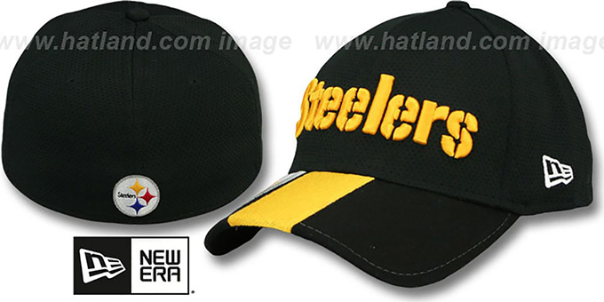 Steelers 'HELMET HIT VISOR' Flex Hat by New Era : pictured without stickers that these products are shipped with