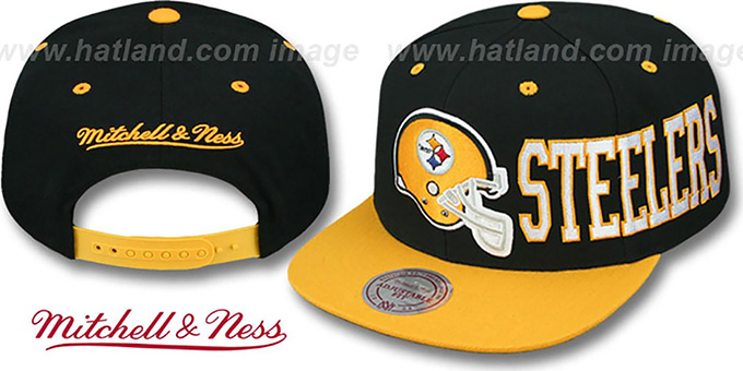 Steelers 'HELMET-WORDWRAP SNAPBACK' Black-Gold Hat by Mitchell and Ness : pictured without stickers that these products are shipped with