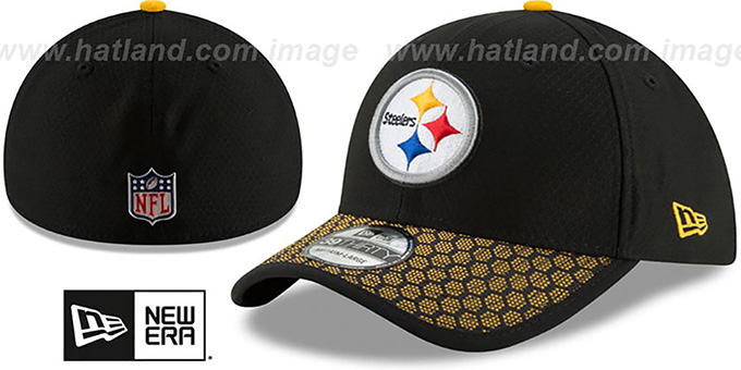 Steelers 'HONEYCOMB STADIUM FLEX' Black Hat by New Era : pictured without stickers that these products are shipped with