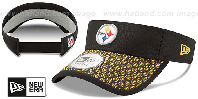 Steelers 'HONEYCOMB STADIUM VISOR' Black by New Era : pictured without stickers that these products are shipped with
