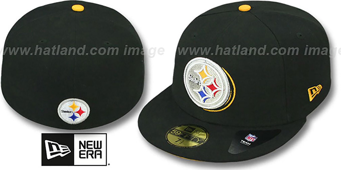 Steelers 'ILLUSION' Black Fitted Hat by New Era : pictured without stickers that these products are shipped with
