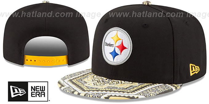 Steelers 'KALEIDOVIZE SNAPBACK' Black Hat by New Era : pictured without stickers that these products are shipped with