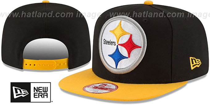 Steelers 'LOGO GRAND REDUX SNAPBACK' Black-Gold Hat by New Era : pictured without stickers that these products are shipped with