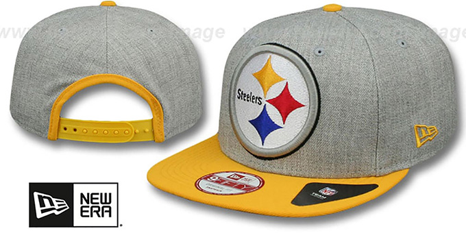 Steelers 'LOGO GRAND SNAPBACK' Grey-Gold Hat by New Era : pictured without stickers that these products are shipped with