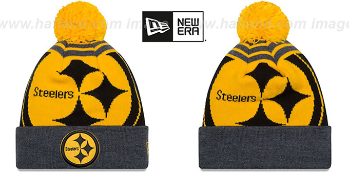 Steelers 'LOGO WHIZ' Black-Charcoal Knit Beanie Hat by New Era : pictured without stickers that these products are shipped with