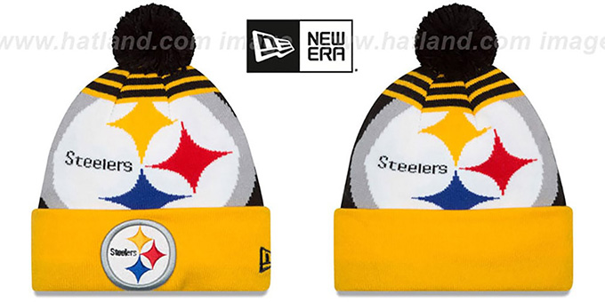 Steelers 'LOGO WHIZ' Black-Gold Knit Beanie Hat by New Era : pictured without stickers that these products are shipped with
